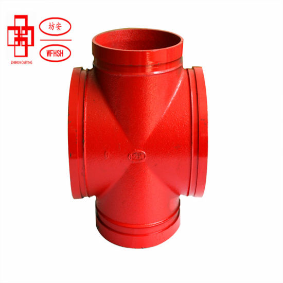 Ductile Iron Grooved Pipe Fittings Cross/ Grooved Reducing Cross/ Threaded Reducing Cross for Fire Protection System