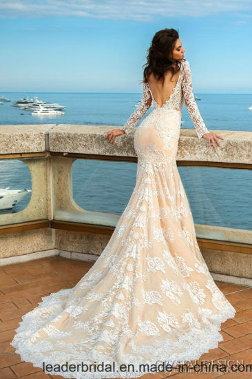 Mermaid Wedding Dress Nude Lining Long Sleeves Lace Bridal Gown Lb5616 pictures & photos