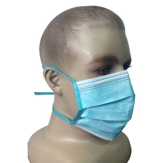 Disposable 3-Ply Non-Woven Dental Surgical Face Mask Tie-on Bands Type II