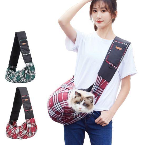 Pet Sling Bag Classic Checked Design Dog Cat Shoulder Bag for Outdoor Pet Carrier Dog Sling Carrier