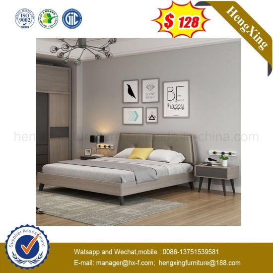 Grey Color Modern Eco Friendly Bedroom Furniture Wooden King Double Bed