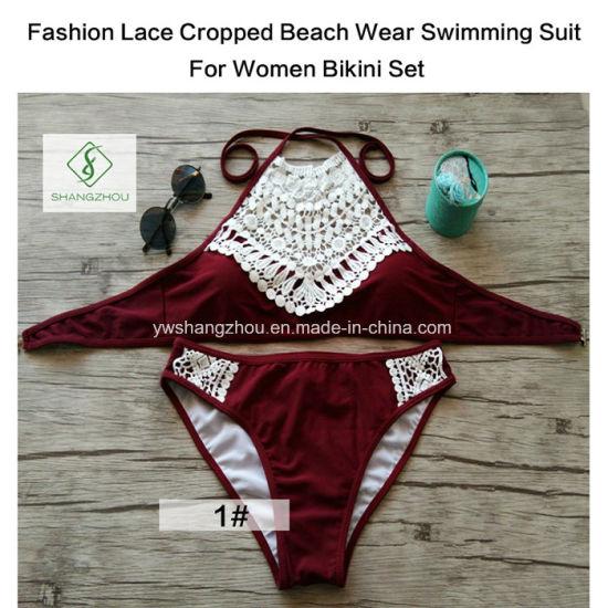 Fashion Lace Cropped Beach Wear Swimming Suit for Women Bikini Set
