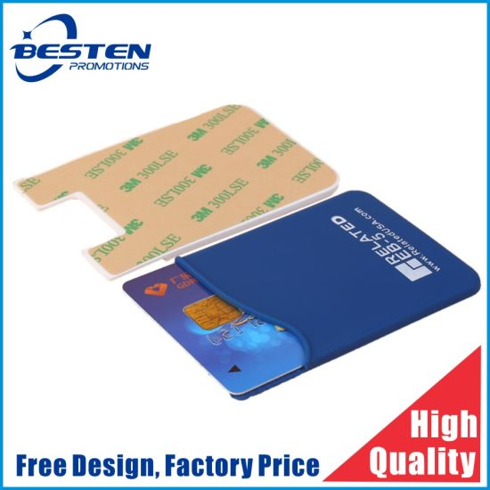 Promotional Custom Logo Mobile Phone Silicone Credit Card Holder with 3m Adhesive