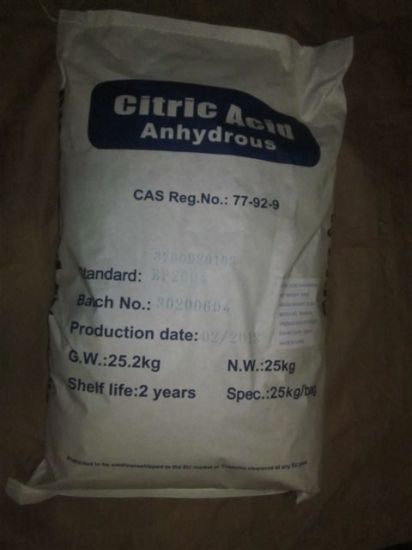Citric Acid Anhydrous 30-100mesh E330 CAS No. 77-92-9 Caa