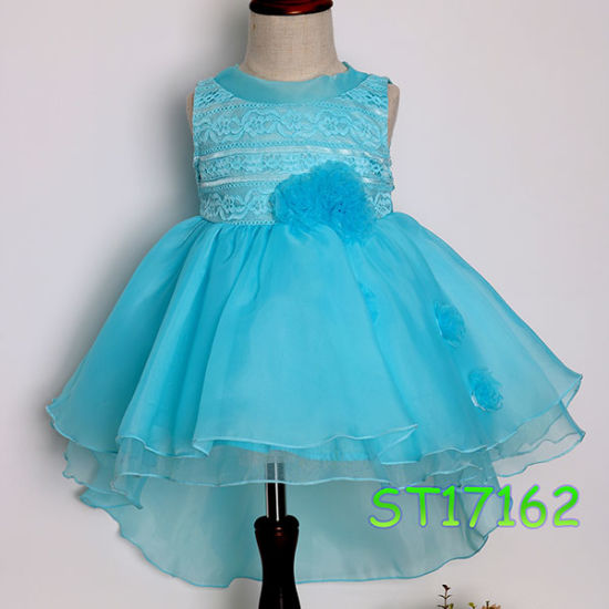 2017 Fashionable Turquoise Organza Ruffle Flower Girl Dress for Wedding Party