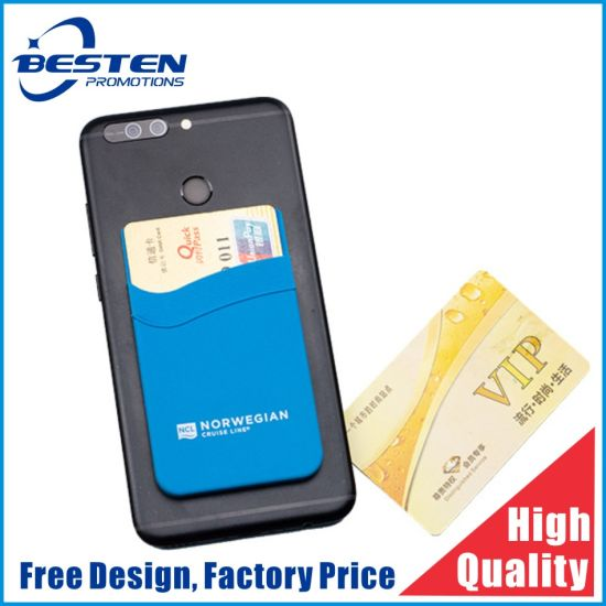 3m Adhesive Cell Phone Housing Adhesive Card Holder Silicone Plastic Credit Card Holder