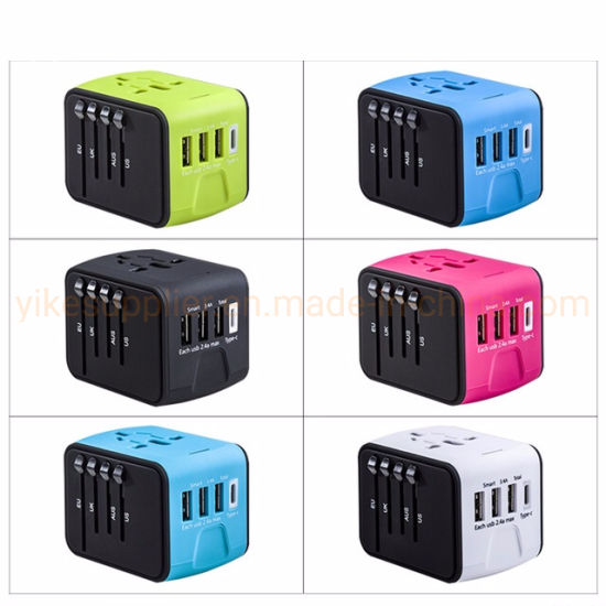 (Factory Selling) 3USB+Type C Travel Adapter 3.4A Universal Power Adapter Charger Adaptor Converter pictures & photos