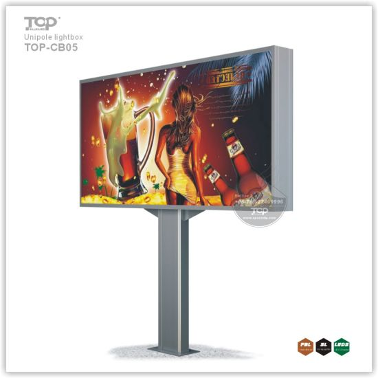 Horizontal Unipole Supported Advertising Light Box Billboard