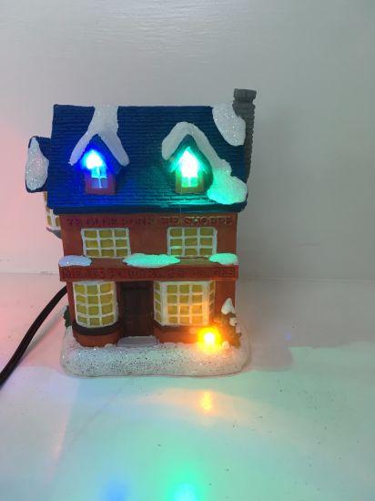 Resin Village Statue Miniature Christmas House Model