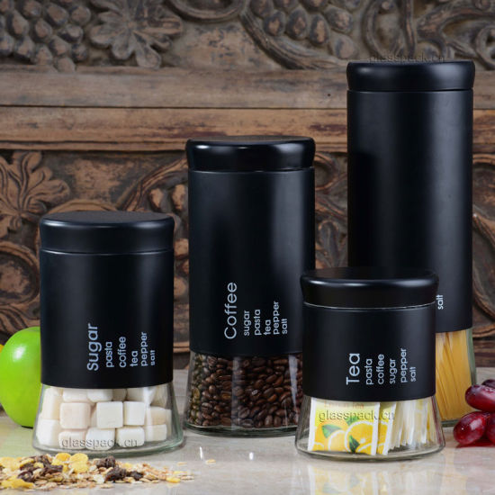 Set 4 Of Stainless Steel Tea Coffee Sugar Kitchen Canisters