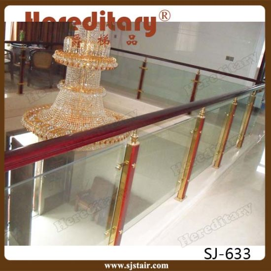 Indoor Modern Design Stainless Steel and Wooden Glass Railing for Stairs (SJ-H011) pictures & photos