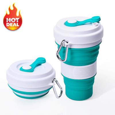 BPA Free Hiking Camping Collapsible Water Bottle Reusable Silicone Foldable Cup