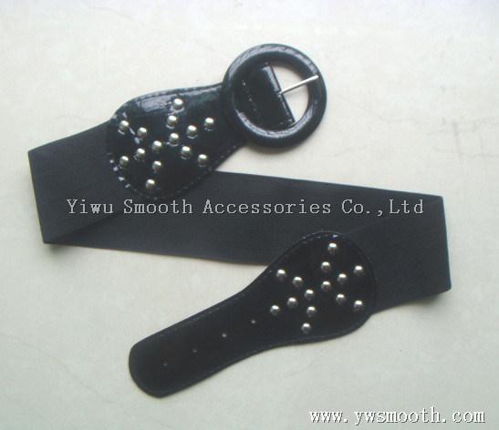 Women's Decorative Skirt Elastic Slim Black Waist PU Leather Belt