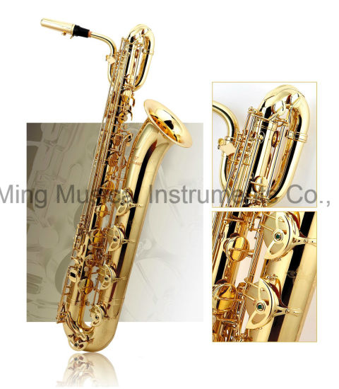Good Baritone Saxophone Brass Body Gold Lacquer/Black Nickel Finish Manufacturer pictures & photos