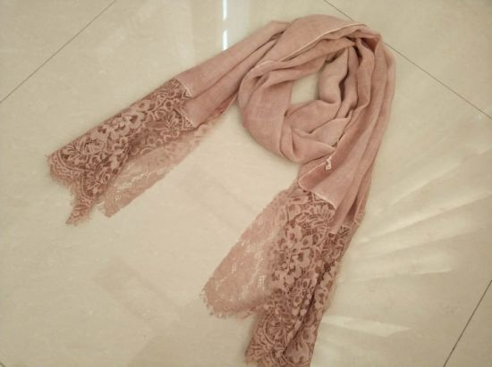 Spring Summer Cotton Line Long Woven Scarf with Lace Edges