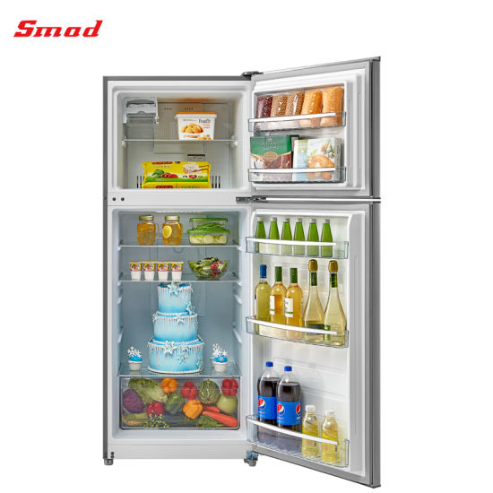 400L Double Door Auto Defrost Stainless Steel Refrigerator with SAA