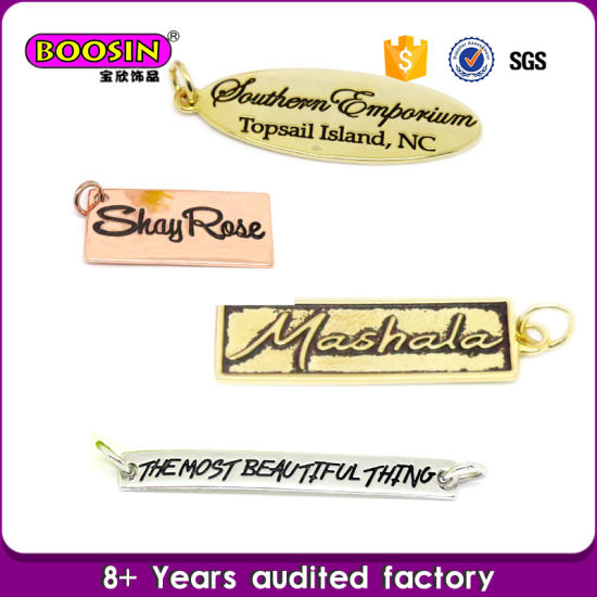 Custom Gold Stamped Metal Logo Engraved Jewelry Tag Charm Wholesale pictures & photos
