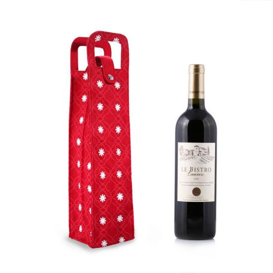 China Christmas Gift Bag Customized Wine Bottle Gift Cotton Fabric ...