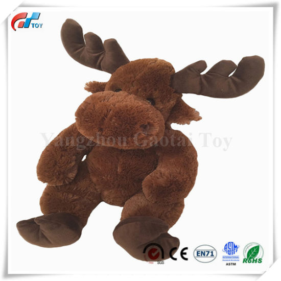 14 Inches Chestnut Brown Sitting Moose Soft Plush Toy for Kids