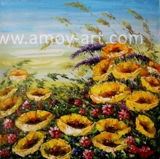 China Framed Floral Oil Paintings By Palette Knife China Handmade