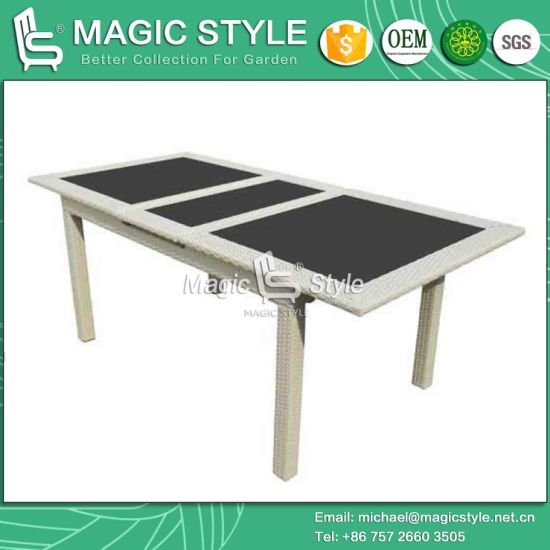 Outdoor Dining Table With Auto Extension System 195 255 Functional Rattan Magic Style