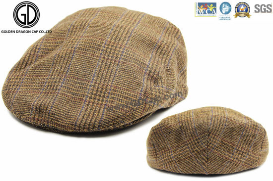 d5b7a3ec3 China Checked Pattern Fabric Gatsby Hat Newsboy IVY Cap with Lining ...