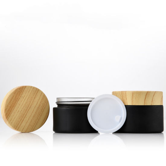 5ml 10ml 15ml 30ml 50ml Cosmetic Cream Container Matte Black Skin Care Container Glass Cosmetic Jar with Plastic Bamboo Lids