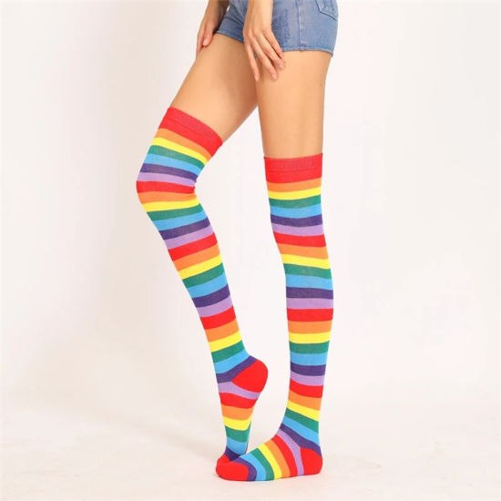 d6056a13b Fashionalable Cotton Ladies Knee Socks Top Quality Women Girl Rainbow  Colors Striped Compression Thigh High Stocking Winter