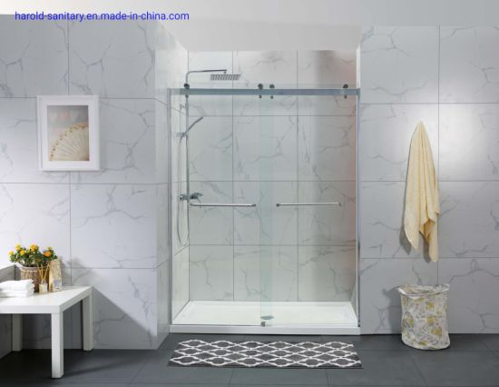 Glossy Aluminium Double Sliding Shower Enclosure for Commercial Project pictures & photos