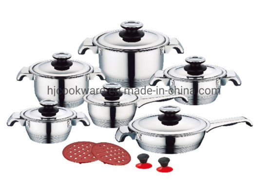 7 Steps Bottom16PCS Stainless Steel Wide Edge Cookware Set Kitchenware