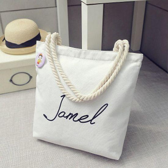 Custom Printed Cartoon Rope Handle Bag Cotton Canvas Carry Tote Bag Shopping Bag