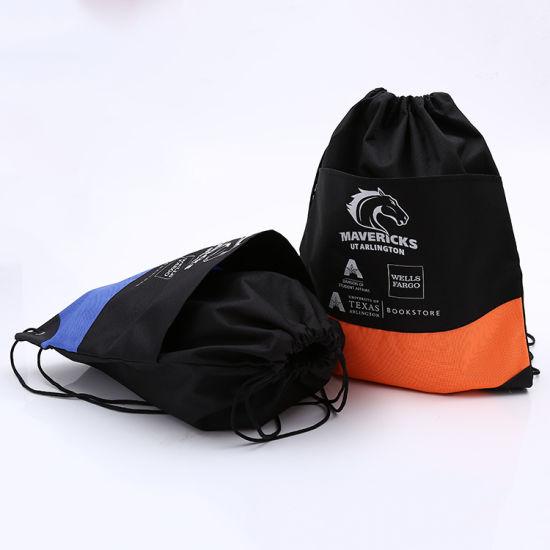 Cheaper Promotional Bag Printed Sport Drawstring Backpack Drawstring Bag with Pocket