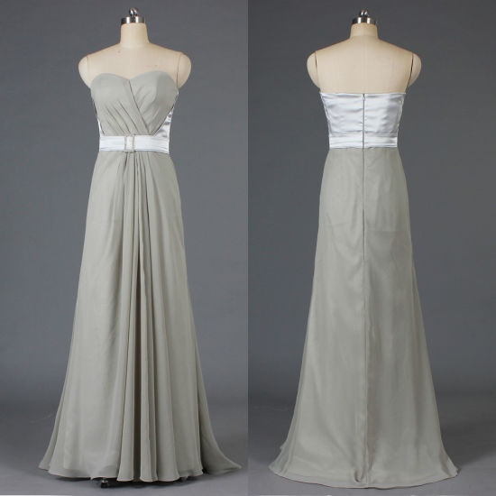 Formal Strapless Chiffon Silver Bridesmaid Dresses Long Gown for Women E375 1c81c0d53a7c