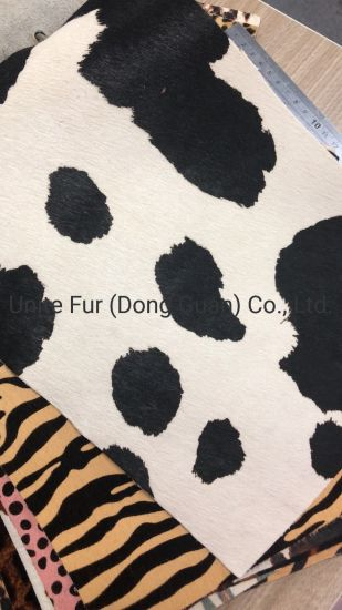 Animal Fur Cow Pattern Print Cow Hair Calf Skin Hide Breathable Genuine Leather for Shoes Lining/Upper Making Materials/Bags Materials/Furniture Fabric