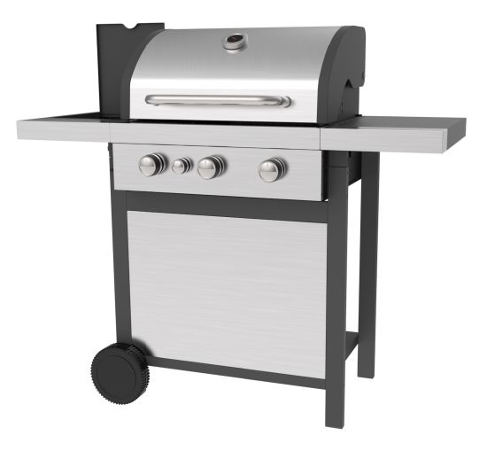 Three Burners Gas Barbecue with Ss Lid and Ss Front Board, Gas BBQ Grills with Ce, LFGB