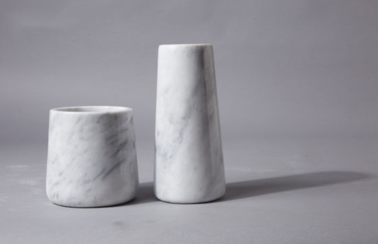 Wholesale Modern Marble Crafts Tall White Marble Dry Flower Vase for Home and Hotel