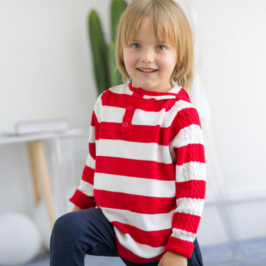 Children's Clothing Thin Hodded Knitwear Striped Sweater