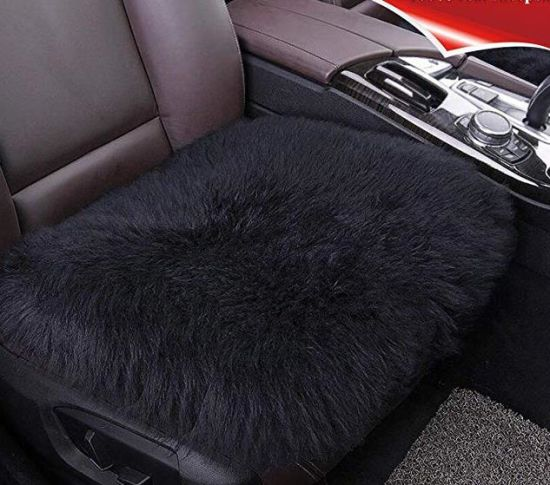 Real Fur Long Wool Front Car Seat Cushion Sheepskin Cover Winter Warm Chair Pad