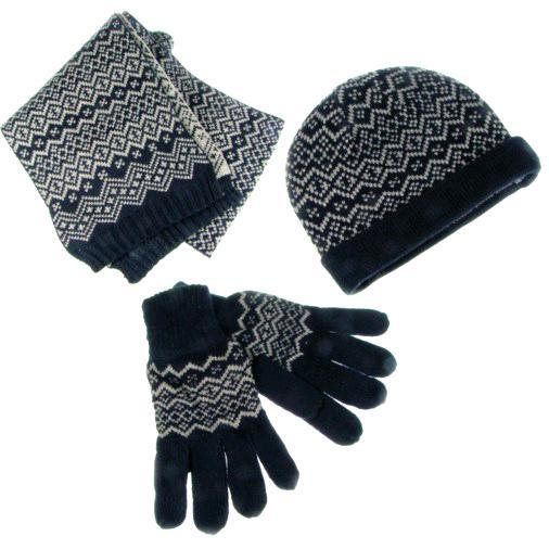 a Set of Knit Hat. Scarf and Gloves
