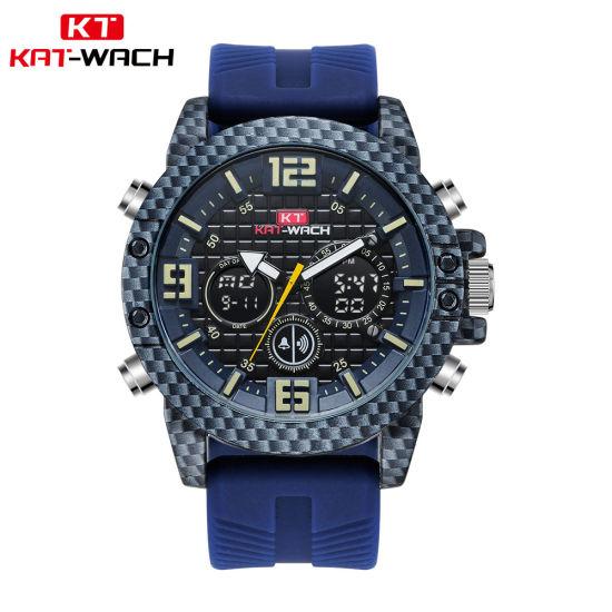 40485d7cc Custom Carbon Fiber Designed Men′s Sport Style Quality Digital LCD Analog  Dual Time Chronograph Waterproof Relojes Watch. Get Latest Price