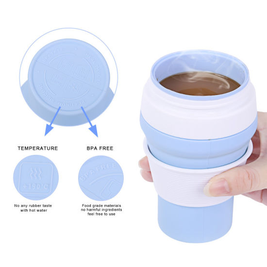 Wholesale New Design Reusable Silicone Travel Folding Collapsible Coffee Cup