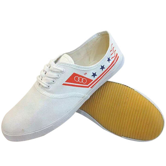 White Odor-Resistant Canvas Shoes with Rubber Sole