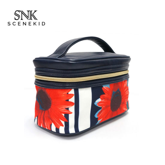 Professional Custom Korean Style Wash Makeup Bag Set, New Fashion Travel PU Cosmetic Bag with Handle