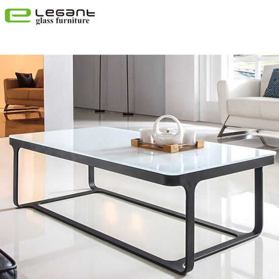 White Painting Tempered Glass Coffee Table