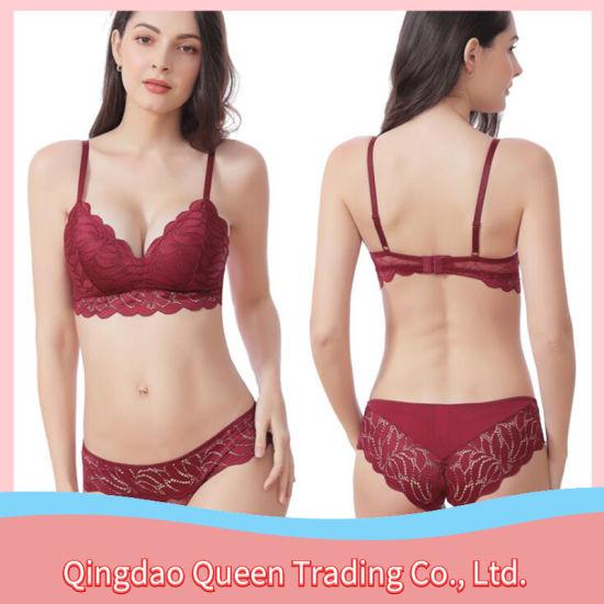 Customizable Lingerie Ladies Lace Underwear Sexy Gather Bra Set
