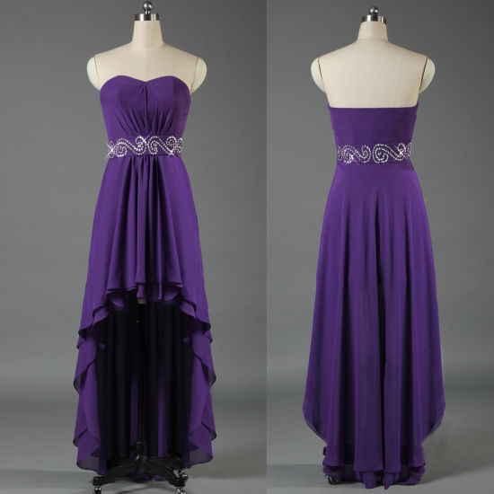 Wholesale Women Ladies Sexy Front Short Long Back Purple Evening Dresses Crystal Belt Prom Wedding Party Dress E073