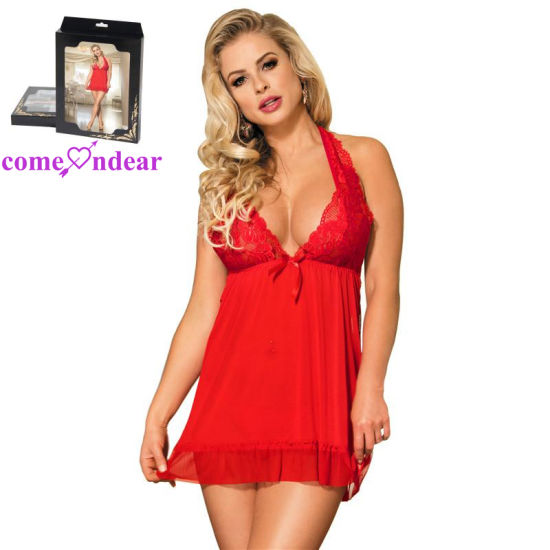 in Stock Women Erotic Red Babydoll Club Wear Sexy Lingerie