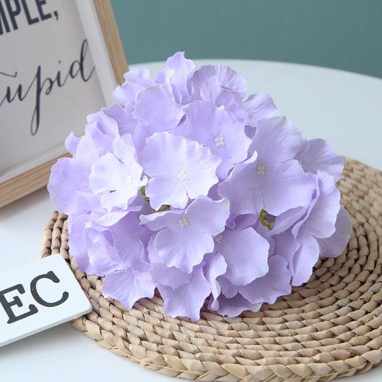 Artificial Hydrangea Hanging Basket Outdoor Decor Wicker Basket Faux Flowers