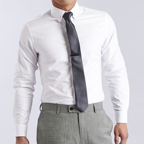 Mens White On White Twill Plaid Cotton Blend Dress Shirt