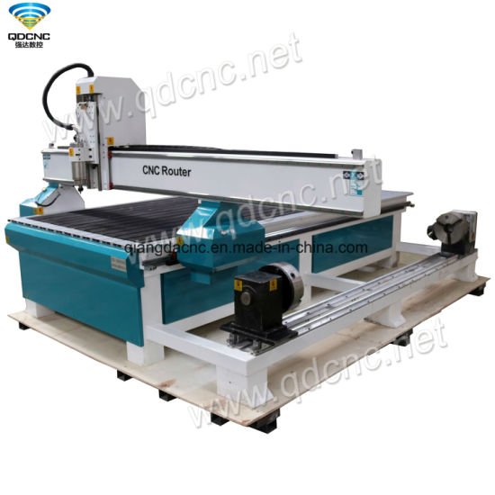 3D Rotary CNC Wood Cylindrical Model Router Carving Machine with DSP Controller Qd-1325r40L
